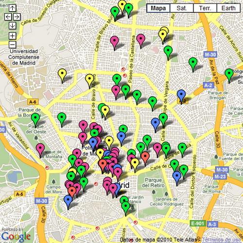 Mapa de Restaurantes de Madrid (Haz