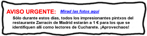 ¡Súper Pintxos en Madrid a sólo 1 € en el Restaurante Zarracín gracias a Cucharete!- © Cucharete.com