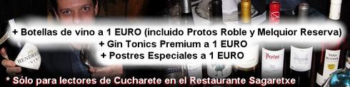 Botellas de vino a 1 EURO! + Gin Tonics Premium a 1 EURO! + Postres Especiales a 1 EURO! - © Cucharete.com