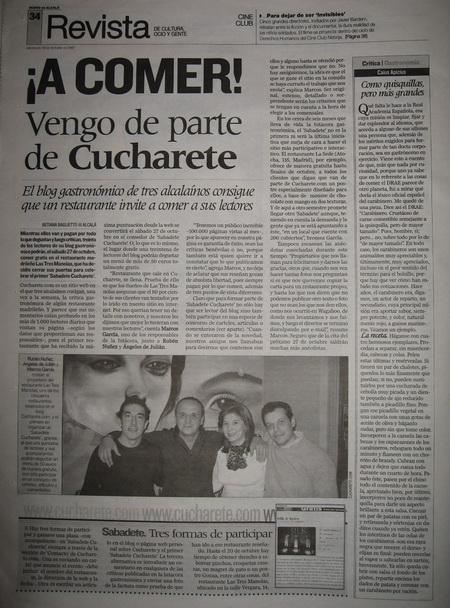 Sabadete de Cucharete en el Diario de Alcalá
